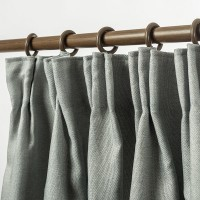 Linen Look Blackout Curtain Pinch Pleat  4 Colors