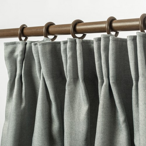 Linen Look Blackout Curtain Pinch Pleat Light Grey