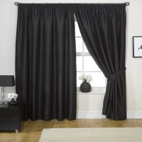 Blackout Pencil Pleat  Curtains  Black 1 Piece