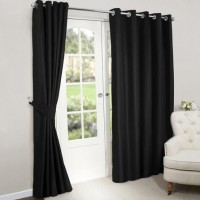 Blackout Eyelet Curtains Black 1 Piece