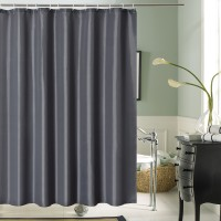 Bathroom Shower Curtain Waterproof Textile with Hooks Dark Grey