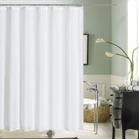 Bathroom Shower Curtain Waterproof Textile with Hooks White