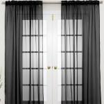Normal Sheer Rod Pocket Curtain 2 pcs Black