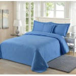 Padded Bedspread Coverlet Pillowcase Bed Cover Blue