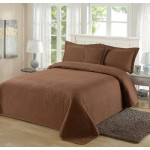 Padded Bedspread Coverlet Quilt Brown