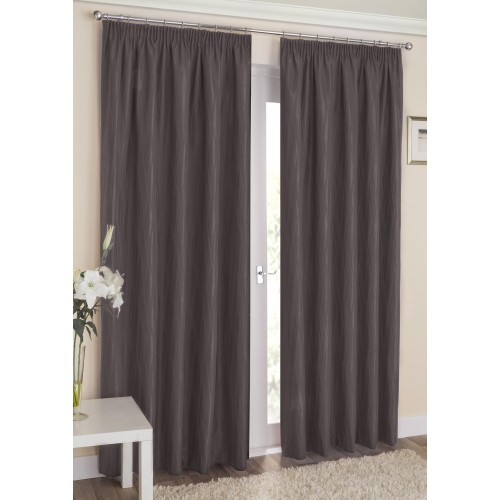 Blockout Pencil Pleat  Curtains  Dark Grey 1 Piece