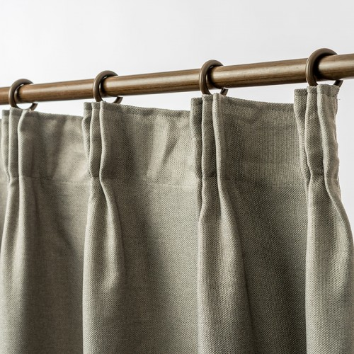 Linen Look Blackout Curtain Pinch Pleat  Dark Linen