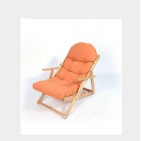 Wooden Deck Chair Foldable Balcony Chair Orange Color