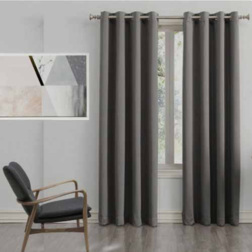Blackout Eyelet Curtain Dark Grey 1 Piece