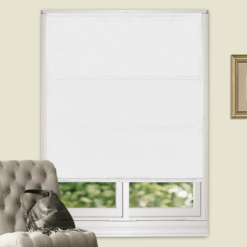 100 Blackout Flat Roman Blind White
