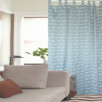 Jacquard Stripes Poly-linen Tab Top Curtain 1pc