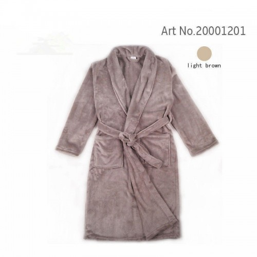 Bathrobe Dressing Gown Men's Women's Supersoft Luxurious Coral Fleece light brown