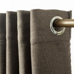 Linen Look Eyelet  Blackout Curtain Taupe