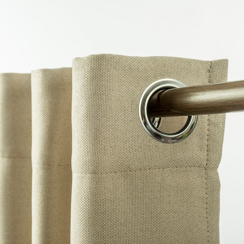 Linen Look Eyelet  Blackout Curtain Light Linen