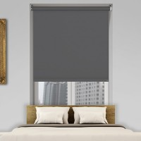Modern Blackout Roller Blinds Commercial Quality Dark Grey