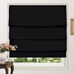 100% Blackout Pleated Roman Shade Blind Black