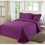 Bed Cover Pillowcase Padded Bedspread Purple