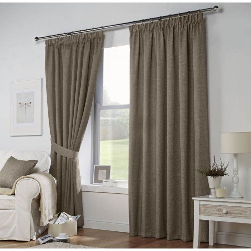Blackout Pencil Pleat Curtains  Sand 1 Piece