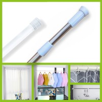 Multi-function Spring Tension Rod Shower Curtain Rod White and Silver