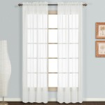 Normal Sheer Rod Pocket Curtain 2 pcs White